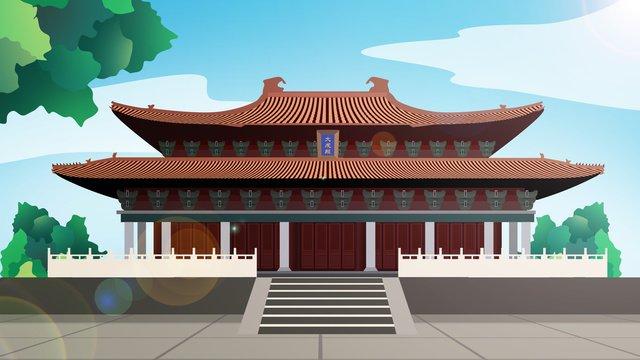 tòa nhà lịch sử phong cách trung quốc dacheng hall Hình minh họa