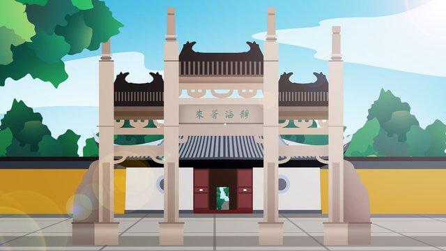 中国の歴史的建造物jinghai temple イラストレーション画像 イラスト画像