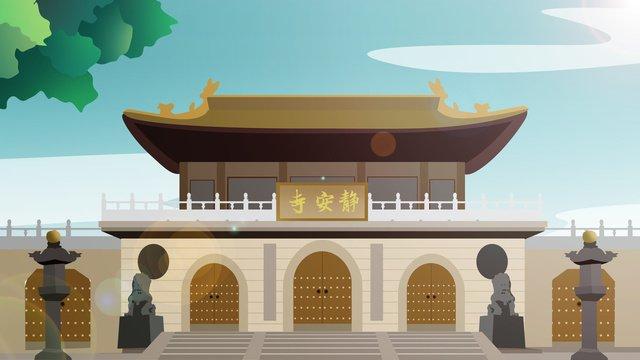 tòa nhà lịch sử kiểu trung quốc Đền jingan Hình minh họa Hình minh họa