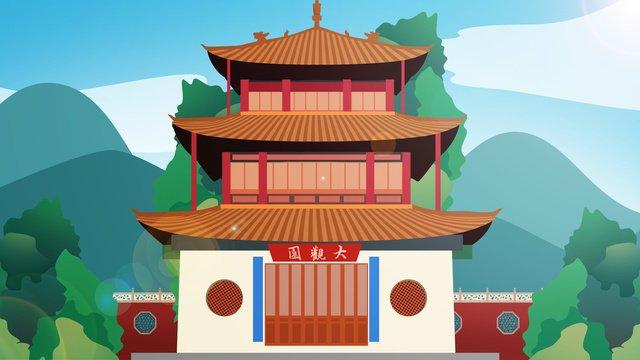 kiến trúc lịch sử phong cách trung hoa grand view garden Hình minh họa