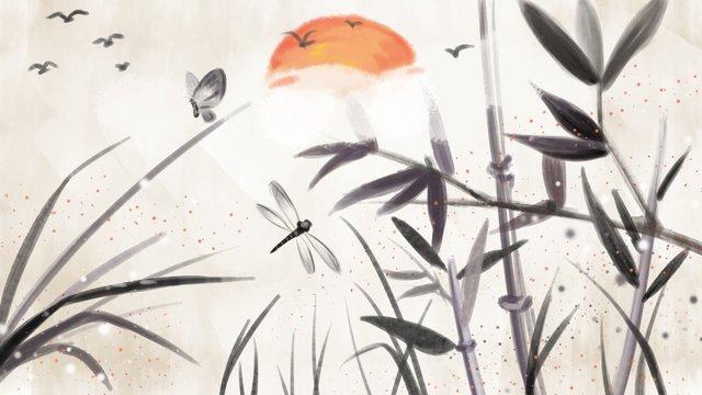 Chinese style ink bamboo, Chinese Style, Illustration, Painting illustration image