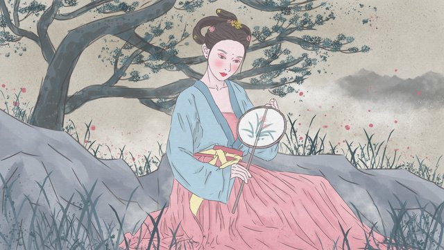 Chinese style ink painting ancient costume hanfu beauty, Chinese Style, Ink, Ancient Figure illustration image