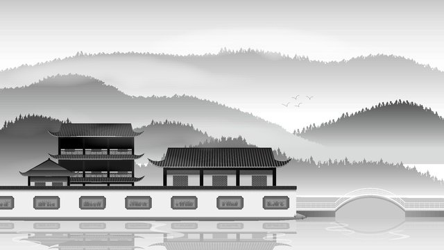 Chinese ink ancient architecture vector illustration llustration image illustration image