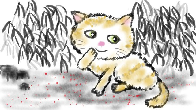 Chinese style ink painting cat, Chinese Style, Ink, Hand Painted illustration image
