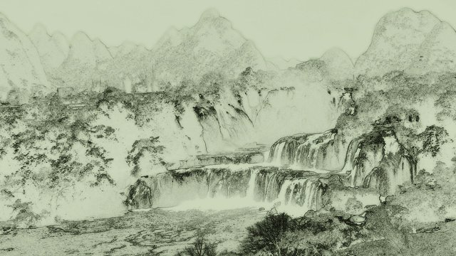 Chinese style ink landscape painting, Chinese Style, Ink, Landscape Painting illustration image