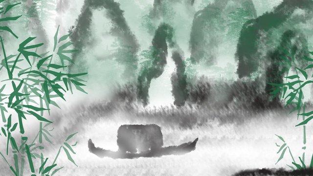 中国風水墨画中華風  インク  風景画 PNGおよびPSD illustration image