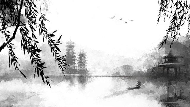 中國風水墨山水垂柳飛鳥湖心亭 插畫素材