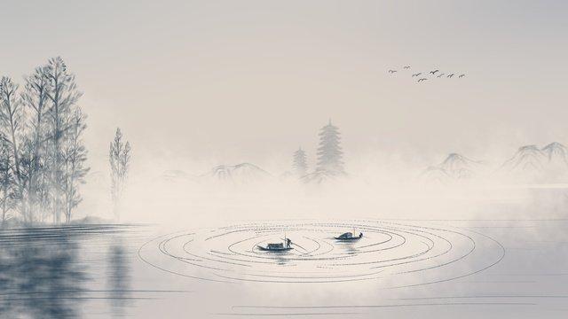 中国風の山の水墨画24太陽の白い紅葉イラストポスター イラスト素材 イラスト画像