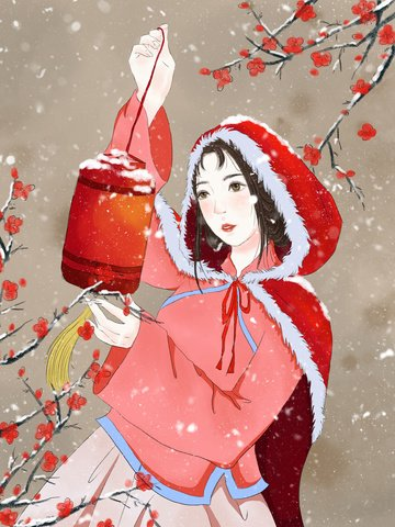 chinese style delicate and realistic watercolor figure illustration llustration image