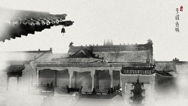 gaya cina pingyao bandar dakwat ilustrasi imej keterlaluan imej ilustrasi
