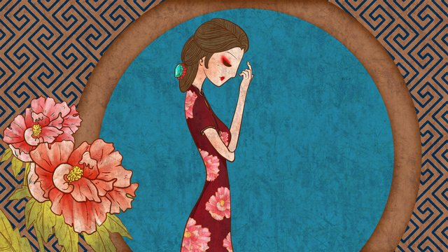 Chinese style Traditional antiquity Ancient, Retro, Classic, Cheongsam illustration image