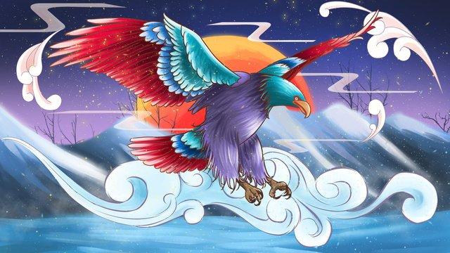 中国風の水彩イラスト中華風  水彩画  イーグル PNGおよびPSD illustration image