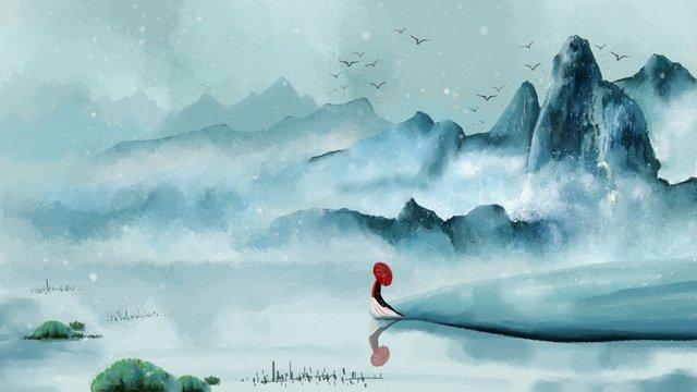 中国風、水彩画、冬の風景、イレン イラスト素材 イラスト画像