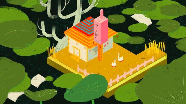 Original hand-painted chinese style fairyland lotus pond house illustration, Chinese Style, Wonderland, Cure illustration image