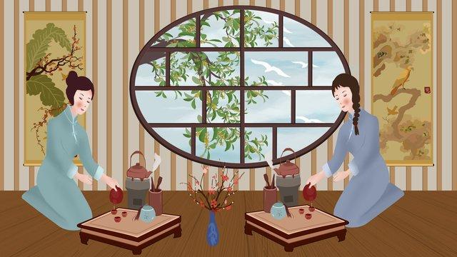 Китайская чайная церемония культура чая кунг фу Ресурсы иллюстрации