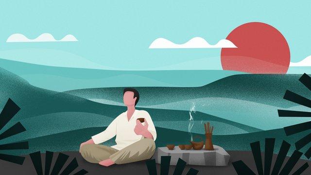 Оригинальная китайская чайная церемония неторопливый вкус жизни иллюстрации Ресурсы иллюстрации Иллюстрация изображения