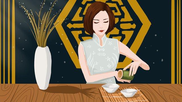Китайская чайная церемония неторопливый чай женщина иллюстрация плакат с картой Ресурсы иллюстрации