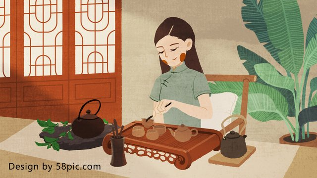 chinese tea ceremony original hand painted small fresh illustration llustration image
