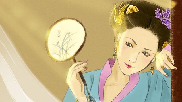 中國傳統文化古代人物插畫沉魚落雁的女子 插畫素材 插畫圖片
