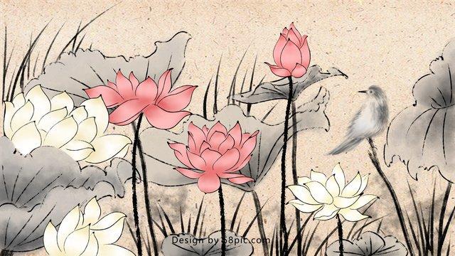 Китайская традиционная тушь лотоса Ресурсы иллюстрации