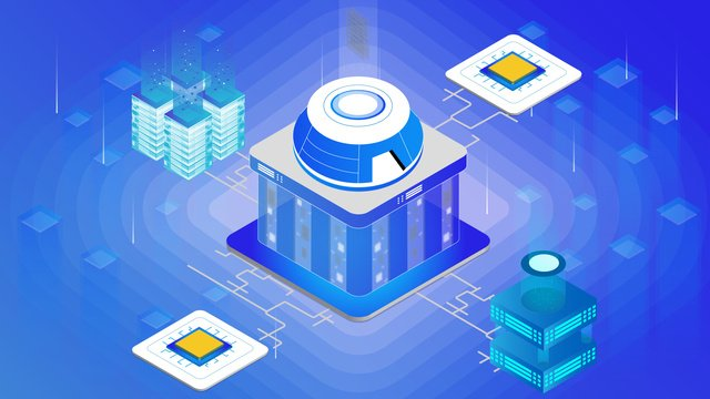 Small fresh blue gradient technology future illustration, Chip, Technology Future, Blue Gradient illustration image