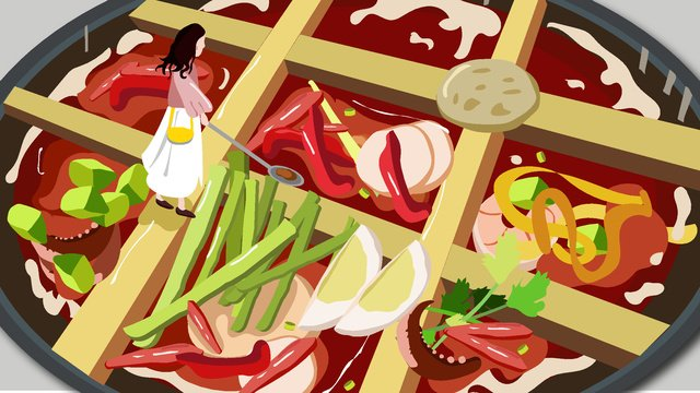 featured food chongqing hot pot spicy jiugongge cuisine vector illustration llustration image illustration image
