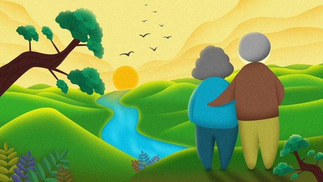 chongyang denggao guan ai高齢者観光旅行松の木日の出山ガチョウ イラスト素材 イラスト画像