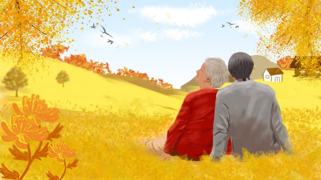 Double ninth festival, Chongyang, Respect For The Elderly, Double Ninth Festival illustration image