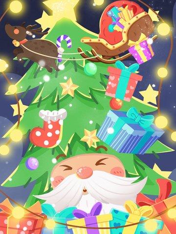 サンタのクリスマスツリークリスマス用帽子 イラスト素材 イラスト画像