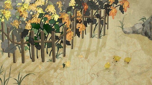 静物画、菊、ひよこを食べること、イラスト イラスト素材 イラスト画像
