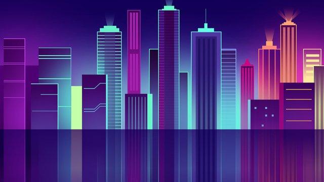 Colorful neon city illustration, City, Building, Illuminate illustration image
