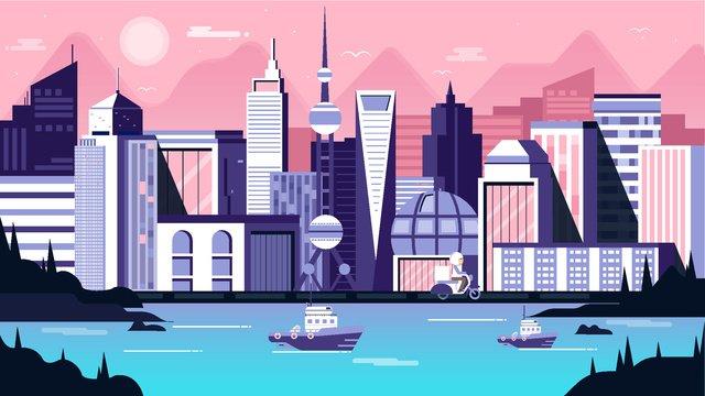 shanghai pink city architecture landscape llustration image