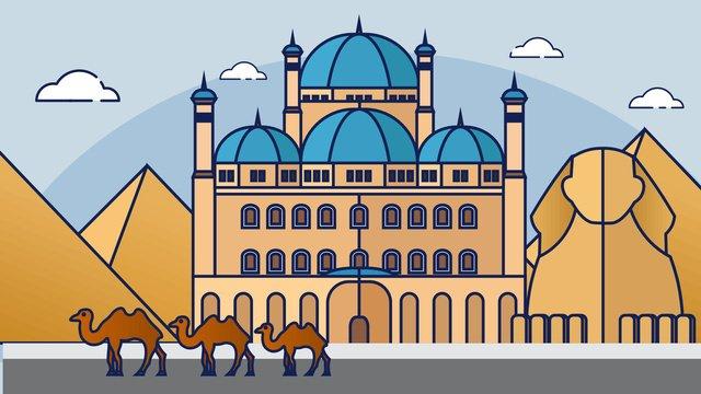city building Vector illustration, Egypt, Sphinx, Cartoon illustration image