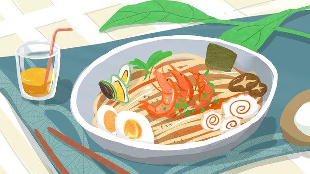 Seafood noodle city food original illustration, City Cuisine, Seafood Noodles, Fresh illustration image