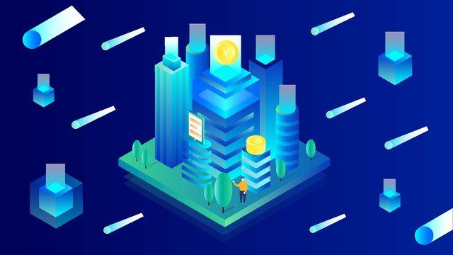 Minh họa tài chính thành phố 25dThành  Phố  Tài PNG Và Vector illustration image