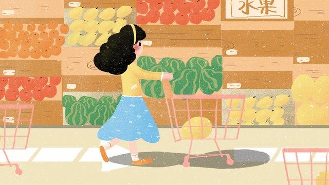 도시 생활 쇼핑 슈퍼마켓 매일 그림 삽화 소재