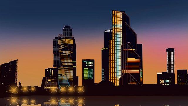 創造的な顕微鏡紙風ネオン夜市高層ビルシーンイラスト イラストレーション画像 イラスト画像