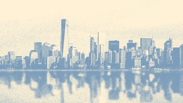 손으로 그린 도시 실루엣 그림 스케치를 구축 그림 이미지 일러스트레이션 이미지