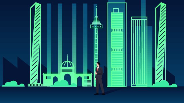 City silhouette colorful night view illustration llustration image illustration image