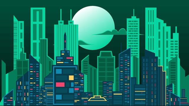 Thành phố bóng đêm trăng minh họa vectorThành  Phố  Bóng PNG Và Vector illustration image