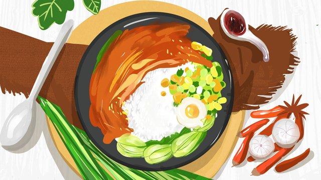 Claypot rice chicken city food original illustration, Claypot Rice, Chicken Rice, City Cuisine illustration image