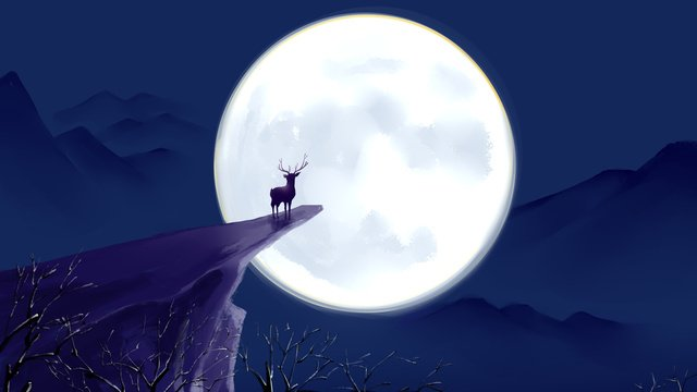 Lin deep cliff at the moonlight see deer cure illustration, Cliff, Lin Shenjian Deer, Moon illustration image