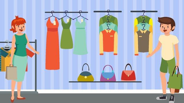 ilustração em vetor desenho animado shopping Material de ilustração Imagens de ilustração