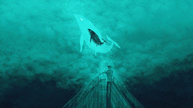 Whale jump cloud original illustration, Cloud Sea, Whale, Bow illustration image