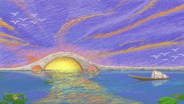 オリジナルコイル印象日の出湖水アーチ橋風景 イラスト素材 イラスト画像