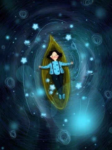 コイルキュアシステムガールワンリーフボート夜空イラスト イラストレーション画像