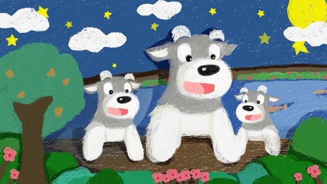 Милая иллюстрация шнауцера любимчика под звездами Ресурсы иллюстрации