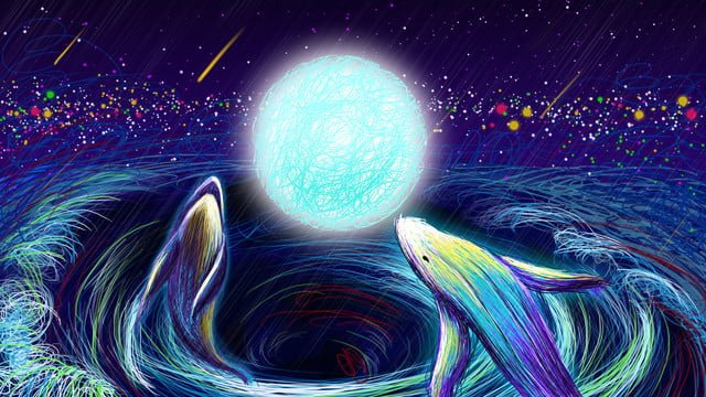 لفائف الدلافين التوضيحية في الشمس وروح نجمية رومانسية صورة llustration صورة التوضيح