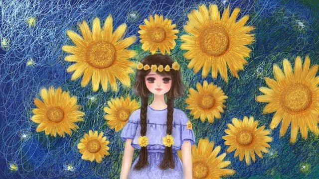 ヒーリングコイルイラストひまわりと少女 イラスト素材 イラスト画像