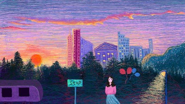 Healing sunset city coil illustration, Coil Illustration, Healing, Neon Skyline illustration image